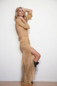 Sheer beige dress by Alana Hale