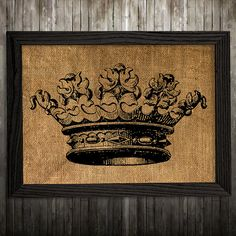 Burlap print. Crown poster. Victorian decor. Antique print.  PLEASE NOTE: this is not actual burlap, this is an art print, the image is printed on