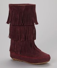 This Burgundy Triple-Tier Fringe Boot by Shoes of Soul is !!!!!!! #zulilyfinds