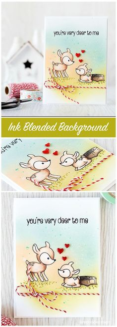 An ink blended background is the perfect backdrop to these cute deer!