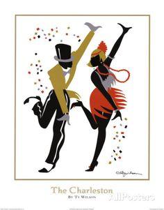 Charleston - Jazz Collection by Ty Wilson A collection of beautiful art prints Arte Jazz, Jazz Art, Danse Charleston, 1920s Dance, Paris Poster, Chicago Poster, Wilson Art, Illustration Art, Illustrations
