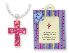Childrens Girls Jewelry Perfect for Christmas, First Communion, Easter, Graduation, Sunday Dress, Christening or Birthday. Cross Necklace, a Constant and Colorful Reminder of the Strength and Commitment to Your Faith! Layered in Sterling Silver with Inviting Styles in Whimsical Designs. Wrapped and Ready for Giving with Pre-printed To/from on Gift Tag. Silver-finish,14-inch Diamond-cut Ball Chain with 2-inch Extender. Vibrant and Inviting Packaging in Unique Present-style Presentation. Value…