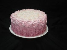 Pink ombre Buttercream rosettes birthday cake