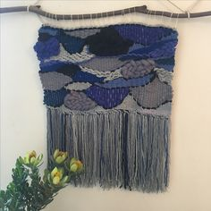 """Weaving by Fringe Lily Creations- """"sapphire lagoon"""" 70x70"""