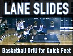 "In this article, we demonstrate a great defensive basketball drill that will help your players be quick on their feet - the ""Lane Slides"" basketball drill. Get the best tips on how to increase your vertical jump here: Basketball Tricks, Basketball Practice, Basketball Plays, Basketball Workouts, Basketball Skills, Basketball Quotes, Basketball Coach, Basketball Uniforms, Basketball Hoop"
