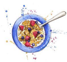 Cereal illustrated food food artists, georgina luck и waterc Granola, Watercolor Food, Watercolor Print, Watercolor Ideas, Dessert Illustration, Illustration Art, Georgina Luck, Food Sketch, Food Artists