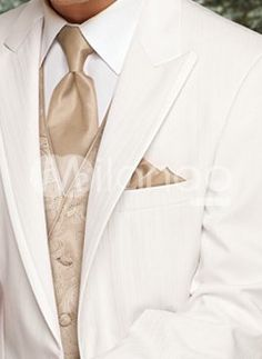 Groom tuxedo with coral tie