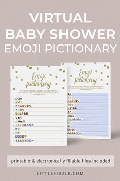 Zoom Baby Shower Games Emoji Instant Download by LittleSizzle. Fun virtual baby shower games. Are you hosting a virtual baby shower? Entertain your guests with this gold emoji pictionary game. Guess the children's book titles described using emoji's. Printable and electronically fillable PDF templares are included. The game is perfect for any zoom, Facetime or Google Hangouts baby shower. #quarantainebabyshowergames #virtualbabyshowergames #funnyvirtualbabyshowergames… Baby Shower Printables, Party Printables, Baby Shower Invitations, Unique Baby Shower, Gender Neutral Baby Shower, Shower Party, Baby Shower Parties, Wishes For Baby Cards, Google Hangouts