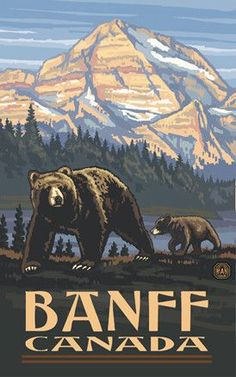 Glacier National Park Rockies Grizzly Bears Travel Art Print Poster by Paul A. Lanquist x Us National Parks, Grand Teton National Park, Banff National Park, Yellowstone National Park, Old Poster, Retro Poster, Vintage National Park Posters, Party Vintage, Vintage Style