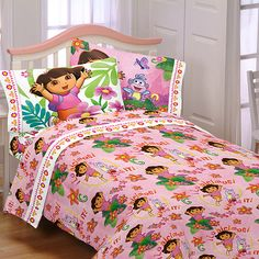 "Walmart: Nickelodeon Dora ""Run, Skip, Jump"" Microfiber Bedding Sheet Set Double Bedding Sets, Dora And Friends, Dora The Explorer, Twin Sheet Sets, Daughters Room, Crib Bedding, Kids Decor, Bed Sheets, Toddler Bed"