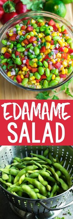 This healthy Edamame Salad is tossed with a tasty homemade Cilantro Lime Dressing for a colorful side dish that's quick, easy, and crazy delicious! This is our favorite way to eat edamame! Gourmet Recipes, Vegetarian Recipes, Dinner Recipes, Cooking Recipes, Healthy Recipes, Cooking Rice, Fast Recipes, Veggie Salads Recipes, Health Side Dishes
