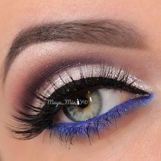 """""""Closeup of 💙 shimmering white cut crease with a pop of blue Lashes: in """"Lynda"""" from Natural Collection. ✨Visit us at…"""" Makeup For Green Eyes, Love Makeup, Beauty Makeup, Makeup Looks, Hair Makeup, Fun Makeup, Flutter Lashes, Formal Makeup, Dramatic Makeup"""