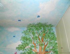 Ζωγραφικη σε τοιχο παιδικου δωματιου ουρανός με πουλάκια