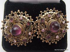 Vintage Screwback Earrings Victorian Purple Lavender Rhinestone Gold tone NICE b