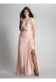 A-line One Shoulder Sleeveless Floor-length Chiffon Prom Dress #FC303