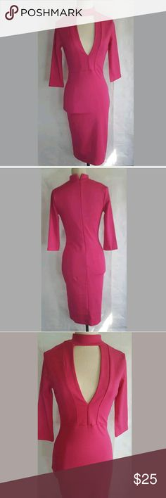 Fashion Nova Pink Midi Dress sz M. Great condition Fashion Nova Pink Midi Dress. Is cleavage bearing. Observe all pictures.No known flaws.Great look and color  Armpit to Armpit-approx 15 inches  Shoulder to Hem- approx 39 inches  Please be aware that measurements are estimates Fashion Nova Dresses