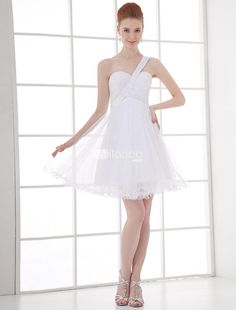 A-line White Chiffon Sequin One-Shoulder Short Womens Prom Dress. See More A-line at http://www.ourgreatshop.com/A-line-C938.aspx