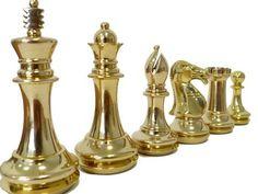 Pièces de Jeu D'échecs Roi John En Laiton
