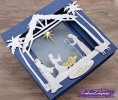 Crafter's Companion: Nativity Tunnel Card by Annie Williams Die Cut Christmas Cards, Christian Christmas Cards, Cricut Christmas Ideas, Religious Christmas Cards, Homemade Christmas Cards, Christmas Nativity, Xmas Cards, Handmade Christmas, Holiday Cards