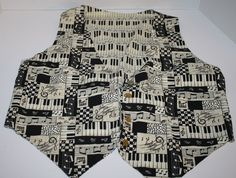 Musical Keyboard Piano Note Vest Reversibile black white ties in back button up #Handmade