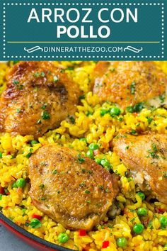 This recipe for Spanish Arroz con Pollo is a one pot meal that's full of tender chicken thighs, creamy saffron rice and vegetables - an easy dinner! Pollo Chicken, Chicken Rice, Chicken Meals, Baked Chicken Recipes, Recipe Chicken, Arroz Recipe, Arroz Con Pollo Recipe Puerto Rican, Recipe Recipe, Chicken And Spanish Rice