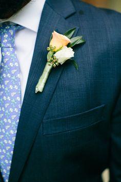 Ivory and peach groom boutonniere - Teresa Sena Design - Callaway Gable