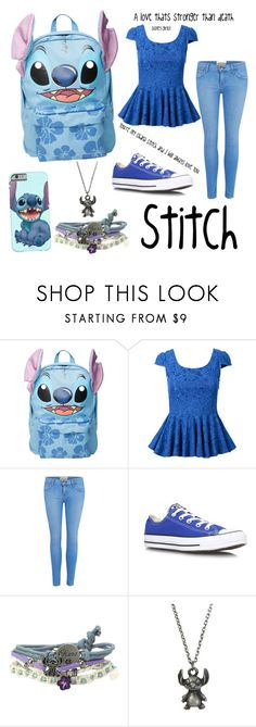 """Ohana disney Lilo and stitch"" by disney-girl121 ❤ liked on Polyvore featuring Disney, Current/Elliott and Converse"