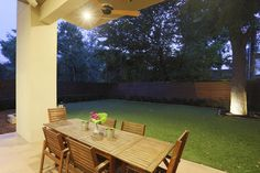 Covered patio has an independent sound system with speakers.   Ceiling fan, recesssed lights.