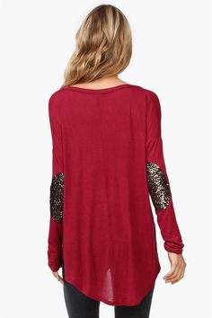 Fall Sparkle Patch Knit Shirt in Burgundy