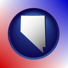 Round, blue Nevada map icon.