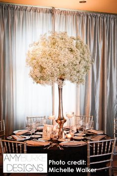 The popular Baby's Breath centerpiece with singer linens as a backdrop. @michellewalker  #reception Location Diablo Country Club
