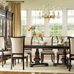 hooker furniture estate 11 piece double pedestal dining table set