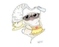 Pug Barista Art Print  Cute Pug Dog Kitchen Art  Cafe by InkPug