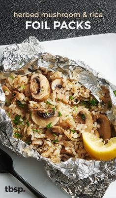Grilling veggies got a whole lot easier with these mushroom and rice foil packs. Seasoned with fresh thyme and parsley, and cooked with brown sugar and butter, they're a no brainer for a summer side.