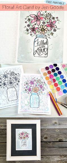 Floral Art Card designed by Jen Goode