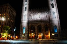 Montreal at Night. Montreal, Notre Dame, Night, Places, Travel, Voyage, Viajes, Traveling, Trips