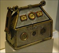 The Monymusk Reliquary, also known as Brecbennoch, is an eighth-century Scottish reliquary made of wood and metal and decorated with intertwined animals, a