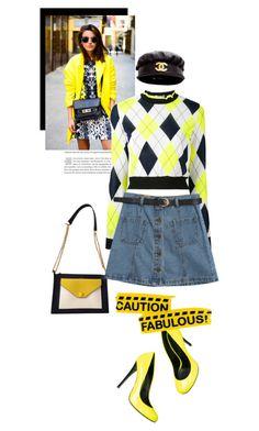 """caution fabolous"" by black-eclipse-red-sky ❤ liked on Polyvore featuring MSGM, Chanel, Chicnova Fashion, Giuseppe Zanotti, denim and yellowandblack"