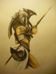 Horus: An Egyptian god- me & my bestie worked on this every once in a while. Turned out to be awesome!