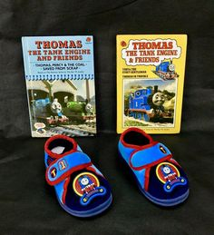 Thomas The Tank Engine slippers With 2 Free Books Size 4 new slippers used books