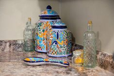 Decorate Your Kitchen in These 4 Easy Steps Kitchen Canisters, Kitchen Items, Kitchen Counters, Talavera Pottery, Ceramic Pottery, Hacienda Kitchen, Kitchen Ornaments, Small Potted Plants, Kitchen Equipment