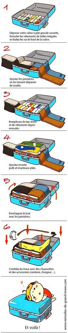 Comment optimiser l'espace dans une valise     ☠☠