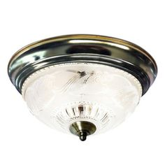 Project Source�11-3/8-in Antique Brass Ceiling Flush Mount