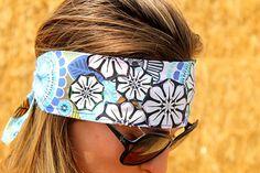 Black and White Flowers on Blue Floral Bandana Headband on Etsy, $19.99