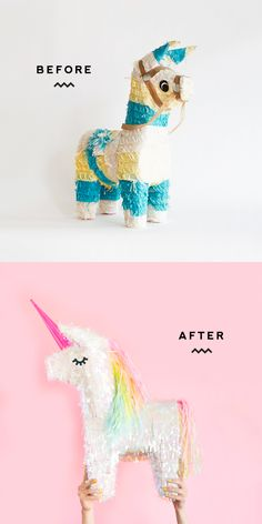 Unicorn Pinata Makeover: Turn regular donkey piñata into unicorn piñata for unicorn party. Rainbow Unicorn Party, Rainbow Birthday, Third Birthday, Unicorn Birthday Parties, Birthday Fun, Birthday Party Themes, Birthday Ideas, Pony Party, Cumpleaños Diy