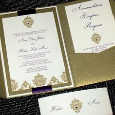 Diamond Damask Pocketfold Invitation in Gold by ThePerfectGiftShop, $6.50. Potentially change all purple elements to black, or lessen the gold by exchanging one of the gold elements