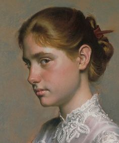 """Jessie Chaffee"" - Daniel E. Greene (b. oil on canvas, 1997 {figurative… Portrait Acrylic, Oil Portrait, Female Portrait, Woman Portrait, Face Proportions, Pastel Portraits, Pastel Paintings, Great Works Of Art, Pastel Drawing"