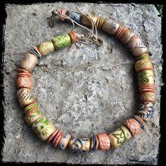jewelry, bijou, necklace. Колье. Полимерная глина.