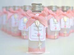 Favores de bautismo Mini botella diseñada para agua bendita