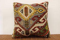Decorative kilim pillow cover 18 x 18 Vintage by kilimwarehouse, $53.00